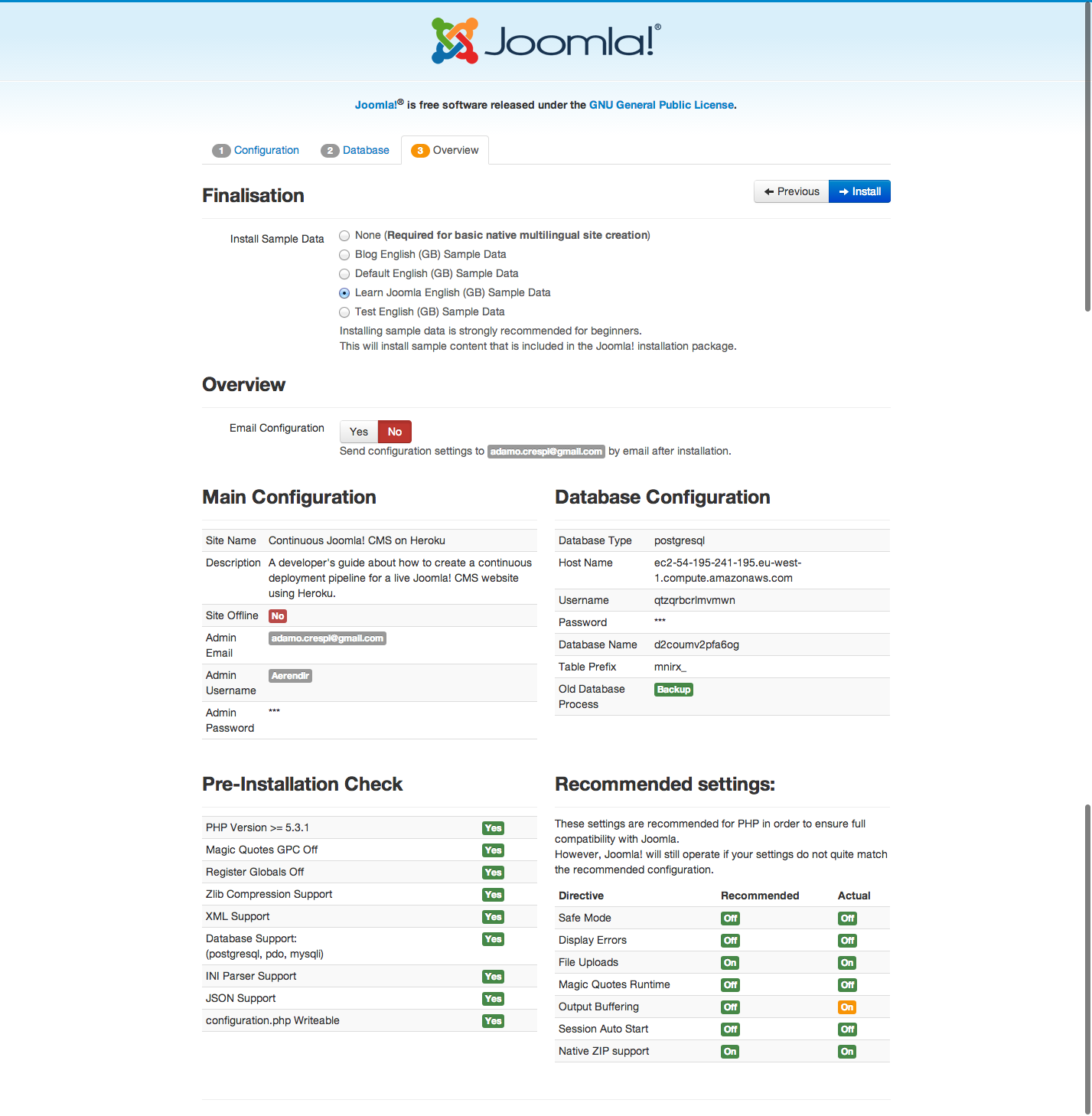Continuous Joomla CMS on Heroku - INstallation